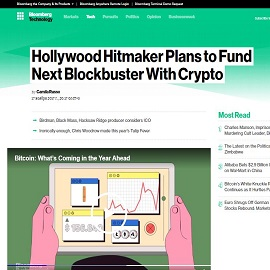 BLOOMBERG:  Hollywood Hitmaker Plans to Fund Next Blockbuster With Crypto